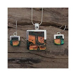 Sterling Silver 'Magic Mosaic' Art Glass Jewelry Set (Mexico)