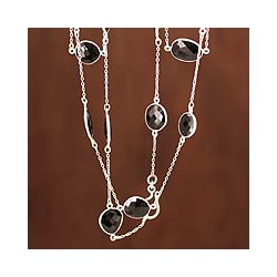 Sterling Silver 'Duduma Majesty' Onyx Long Chain Necklace (India)