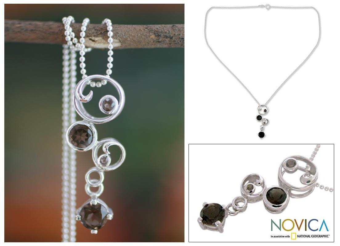 Sterling Silver Smoky Quartz Pendant Necklace 'In Circles' (India)