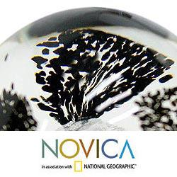 Murano Glass Hand-blown '1000 Black Flowers' Paperweight (Brazil)