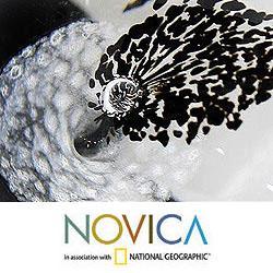 Murano Glass Hand-blown '1000 Black Flowers' Paperweight (Brazil)
