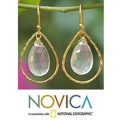 Goldplated 'Empress' Rose Quartz Dangle Earrings (Thailand)