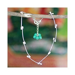 Handcrafted Sterling Silver 'Be With Me' Magnesite Anklet (India)