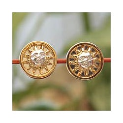 Handcrafted Goldplated 'Sun King' Button Earrings (Mexico)