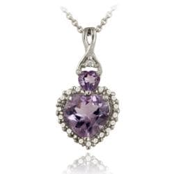 Glitzy Rocks Silver Amethyst and Diamond Accent Heart Necklace