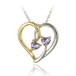 Glitzy Rocks Two-tone Silver Amethyst Heart Necklace