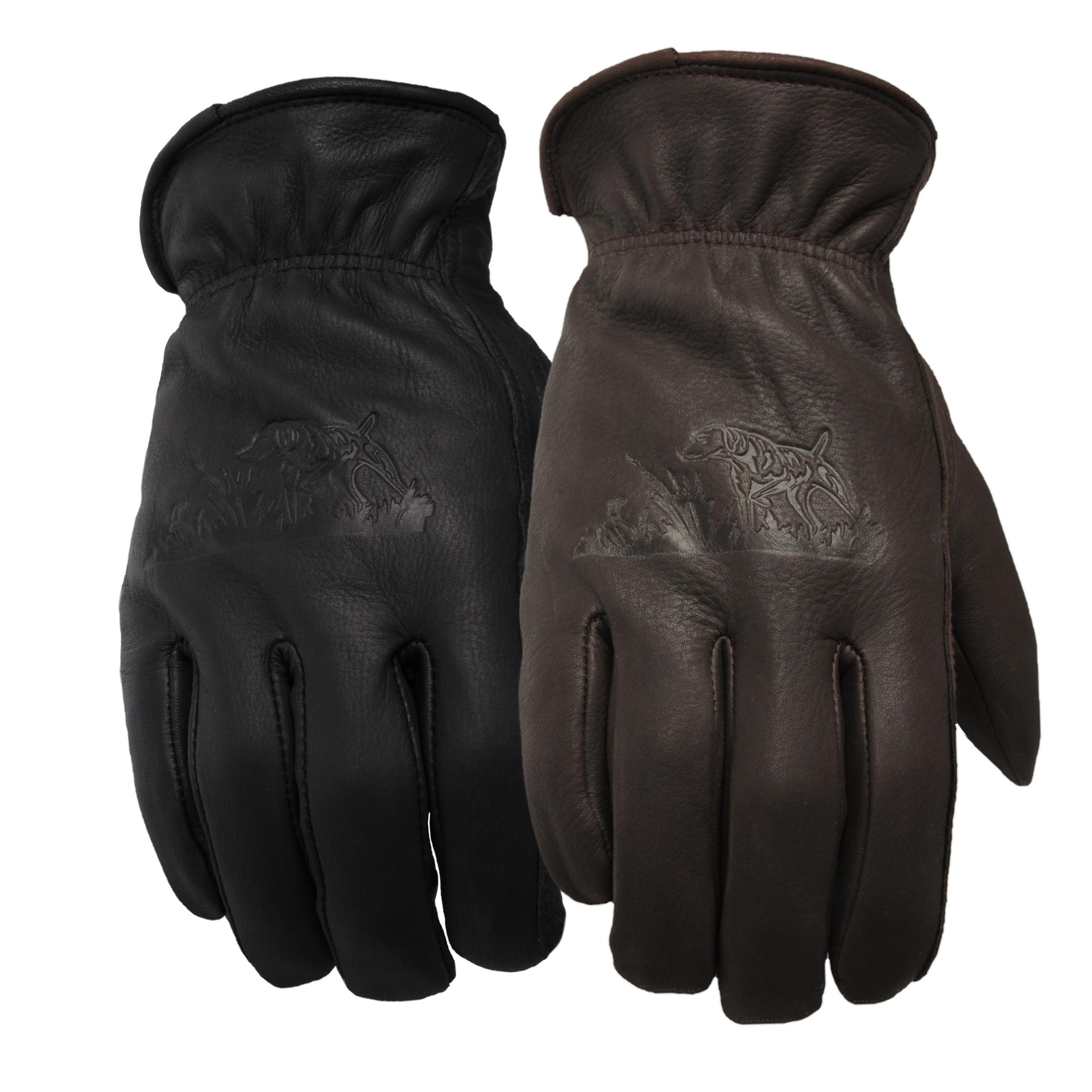 Daxx Men's Top Grain Deerskin Leather Bird Dog Print Lined Gloves