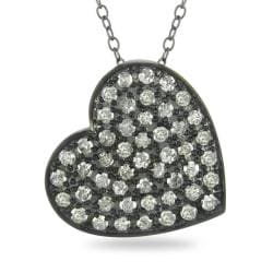 M by Miadora Sterling Silver 1ct TDW White Diamond Heart Necklace (H-I, I3)