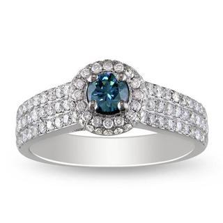 Miadora 14k White Gold 1ct TDW Blue and White Diamond Ring (G-H, I1)