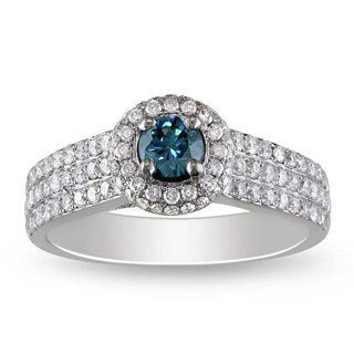 Miadora 14k White Gold 1ct TDW Blue and White Diamond Ring (G-H, I1)