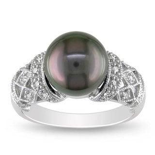 Miadora 14k White Gold Tahitian Black Pearl and 1/10ct TDW Diamond Ring (G-H, I2)(9.9.5 mm)