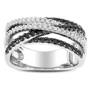 Miadora 10k White Gold 3/5ct TDW Black and White Diamond Crossover Ring (G-H, I3) with Bonus Earrings