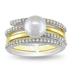 Miadora Sterling Silver Two-Tone White Pearl and 1/6ct TDW Diamond Ring (G-H, I2)