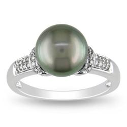 14k White Gold Tahitian Black Pearl and 1/10ct TDW Diamond Ring (G-H, I2)(8.5-9 mm)