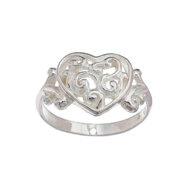 Silvermoon Sterling Silver Filigree Heart Ring