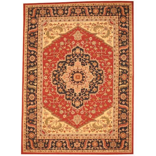 Herat Oriental Asian Hand-tufted Rust/ Navy Heriz Wool Rug (8' x 11')