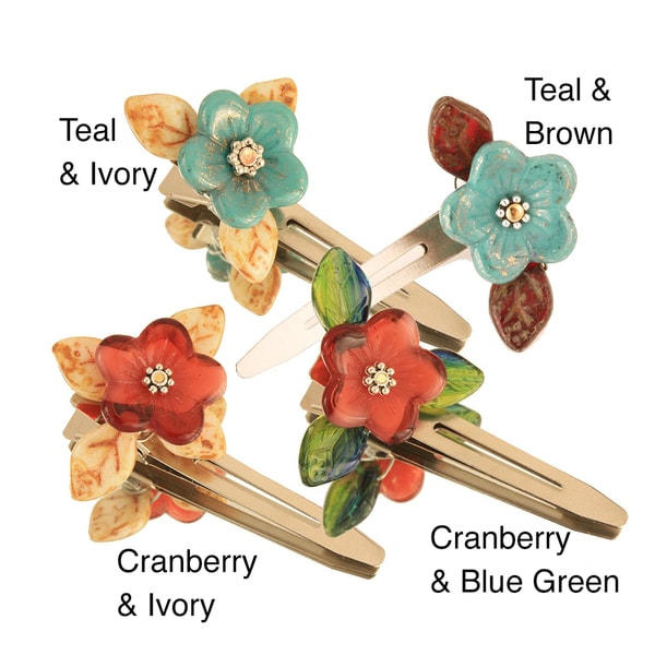 Glass Beads Flower Hair Clips (Set of 2)