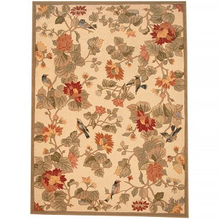 Herat Oriental Asian Hand-tufted Beige/ Green Floral Bird Wool Rug (8' X 11')