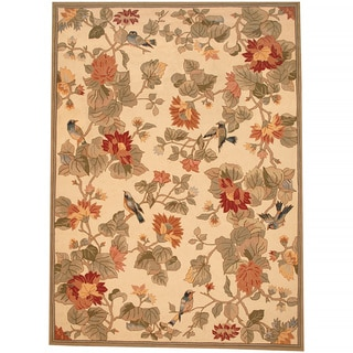 Asian Hand-tufted Beige/ Green Floral Bird Wool Rug (8' X 11')
