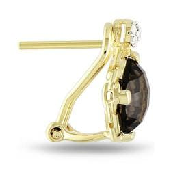 Miadora Yellow Silver Smokey Quartz and Diamond Accent Earrings (G-H, I3)