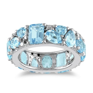 Miadora Sterling Silver Blue Topaz Fashion Ring
