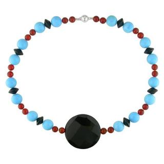 M by Miadora Onyx, Carnelian and Turquoise Bead Fashion Necklace
