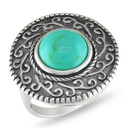 Sterling Silver Turquoise Scroll Ring