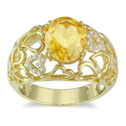 Miadora Yellow Silver Citrine and Diamond Accent Ring