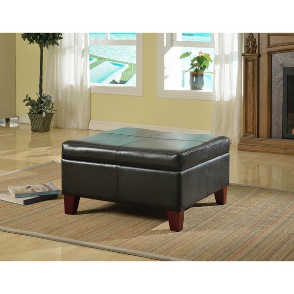 Luxury Large Black Faux Leather Storage Ottoman Table Family Room