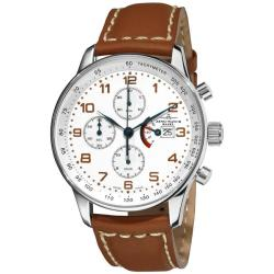 Zeno Men's P557PR-F2 'XL Retro' Stainless-Steel Automatic Chronograph Power Reserve Watch