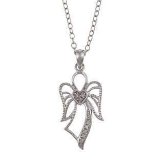 De Couer 10k White Gold Diamond Accent Angel Necklace