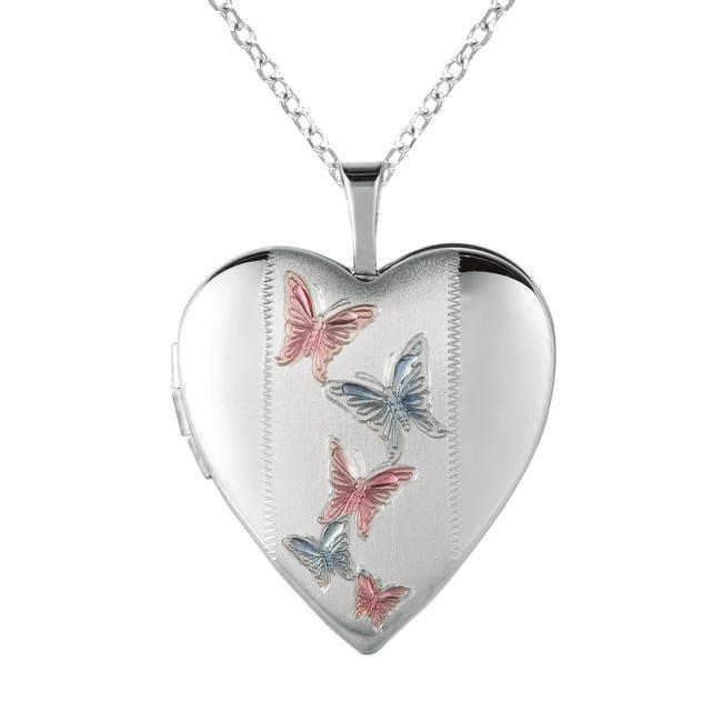 Sterling Silver Butterflies Heart-shaped Locket Necklace