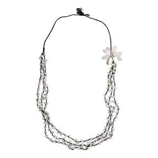 White Mother of Pearl and Coral 3-strand Flower Necklace (Thailand)