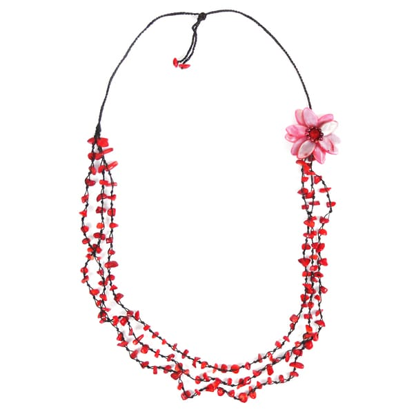 Red Shell and Coral Long 3-strand Flower Necklace (Thailand)