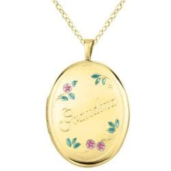 14k Gold and Sterling Silver 'Grandma' Oval Locket Necklace