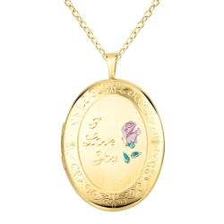 14k Gold and Sterling Silver 'I Love You' Oval Locket Necklace
