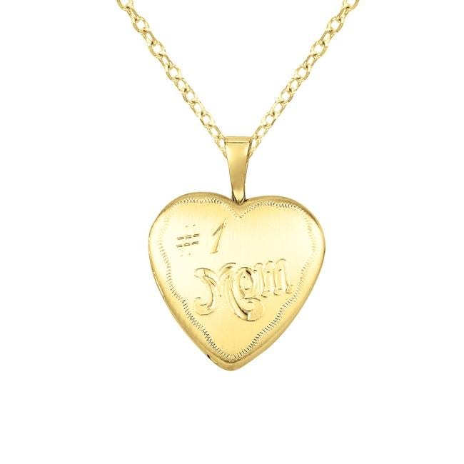 14k Gold and Sterling Silver '#1 Mom' Heart-shaped Locket Necklace