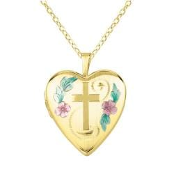 14k Gold and Silver Cross and Flower Heart-shaped Locket Necklace