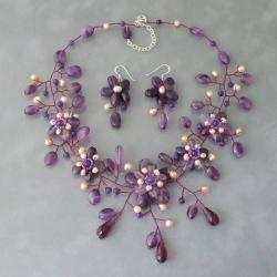 Floral Nature Purple Ametyst and Pink Pearl Jewelry Set (Thailand)