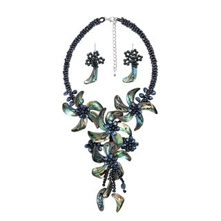 Peacock Abalone Shell Floral Statement Jewelry Set (Thailand)