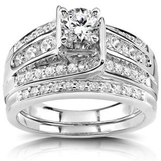Annello 14k White Gold 1ct TDW Diamond Bridal Ring Set (H-I, I1-I2) with Bonus Item