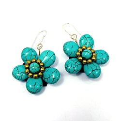 Sterling Silver Blue Turquoise Flower Earrings (Thailand)