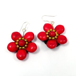 Sterling Silver Red Coral Flower Earrings (Thailand)