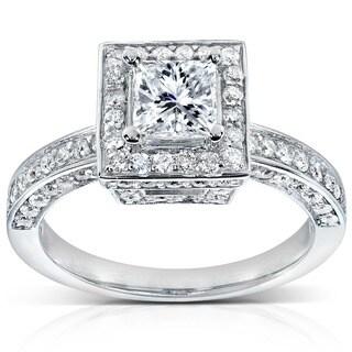 Annello 14k White Gold 1 1/2ct TDW Diamond Engagement Ring (H-I, I1-I2)