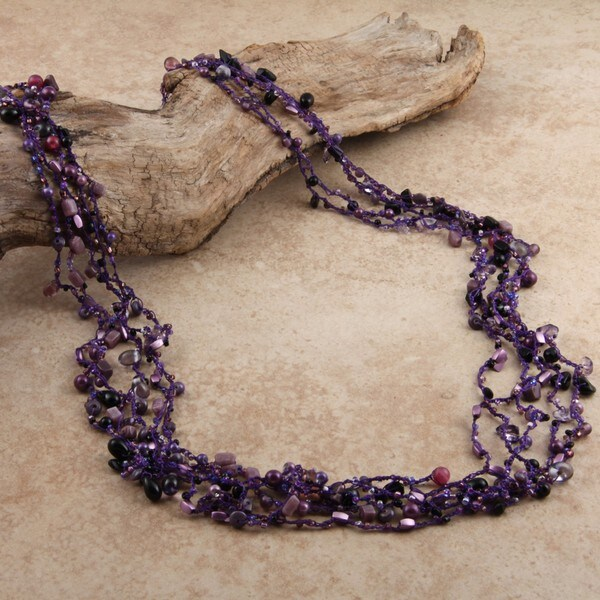 Worldstock Hand-crafted Tiny Purple Glass Beads Necklace (India)