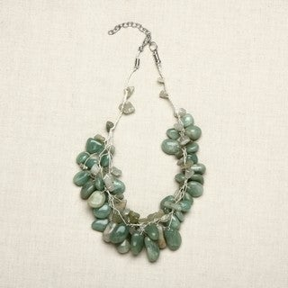 Aqua Agate Stones Multi-strand Necklace (India)