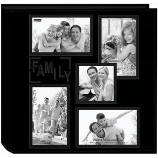 Black Contemporary Collage Frame Sewn Embossed Leatherette Photo Album