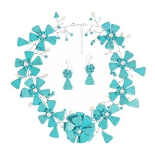 Turquoise and Pearl Modern Floral Link Jewelry Set (3-5 mm) (Thailand)