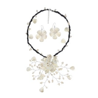 Handmade White Flower Ray Convertible Necklace Earrings Pin Set (Thailand)