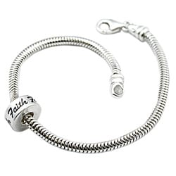 Sterling Silver Faith Bead Snake Bracelet (Mexico)